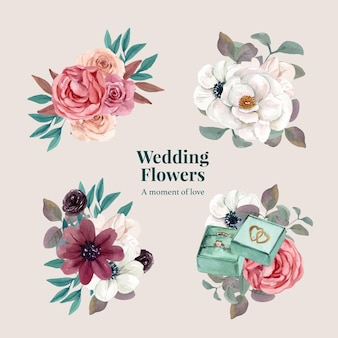 Set of wedding flower bouquets in watercolor style