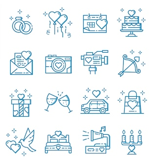 Set of wedding icons with outline style