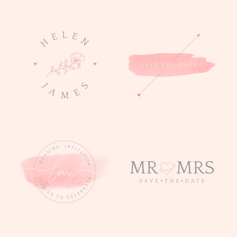 Set of wedding invitation badge design vector