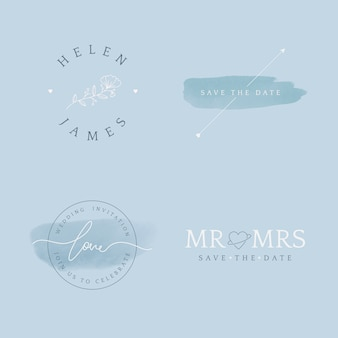 Set of wedding invitation badge design vector