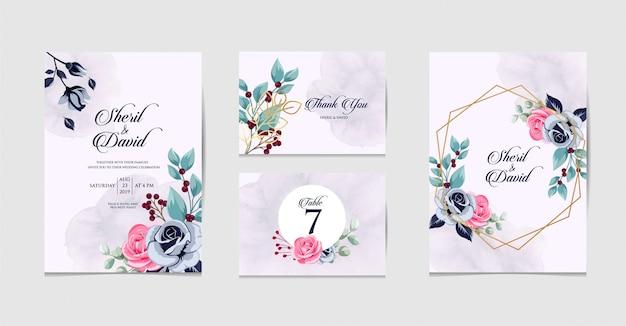 Set wedding invitation beauty design