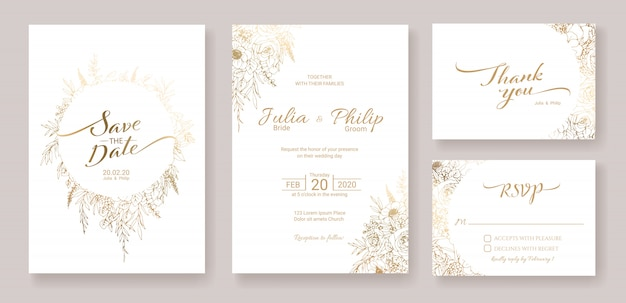 Set of wedding invitation card template. gold flower.