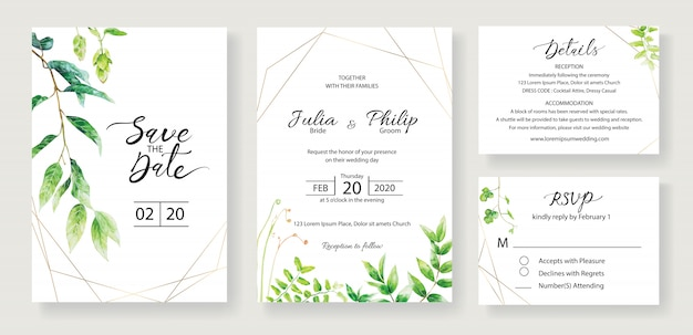 Set of wedding invitation card template. greenery.