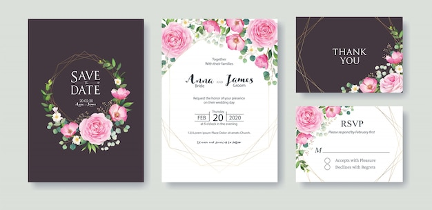 Set of wedding invitation card template. pink rose flower.