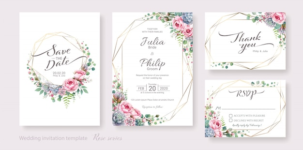Set of wedding invitation card template. succulent and rose flower.