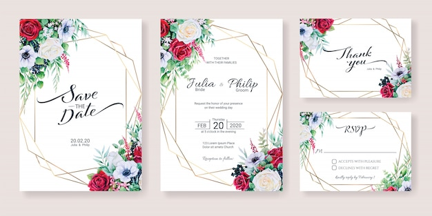 Set of wedding invitation card template. winter flower, watercolor style.