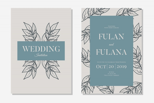 Set wedding invitation card with abstract hand drawn doodle botanical wreath floral background template