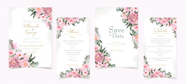 Set of wedding invitation card with beautiful red flowers