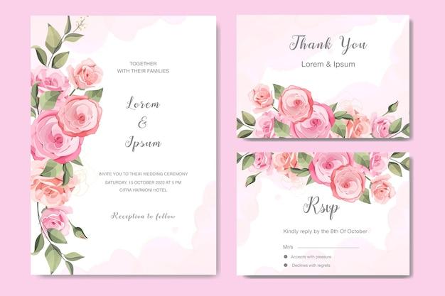 美しいバラの結婚式の招待カードを設定します