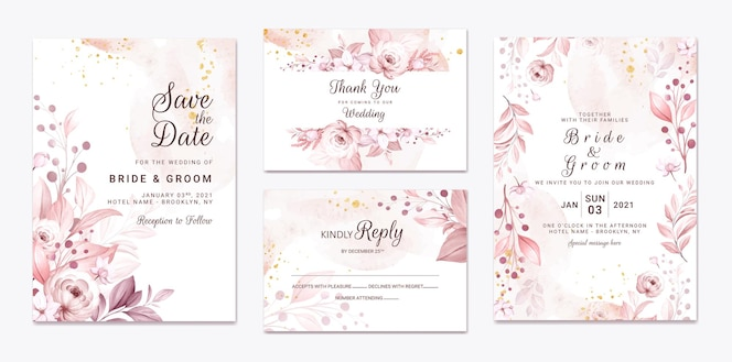 Set di biglietti d'invito per matrimonio con bellissimi fiori e foglie morbidi e cremosi