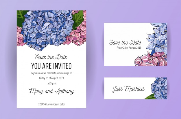 Set of wedding invitation card with blue and pink flowers hydrangea.