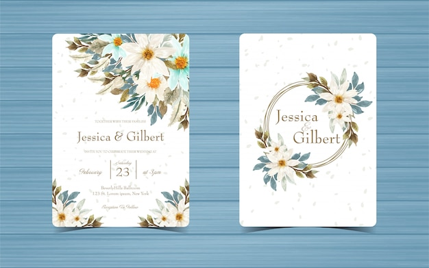 Set of wedding invitation card with blue and white daisy and monogram