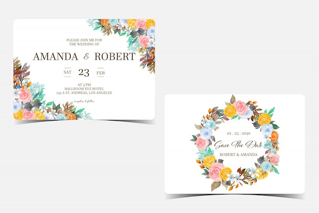Set of wedding invitation card with colorful flowers
