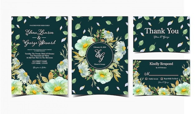 Set of wedding invitation card with daisy and wild flowers