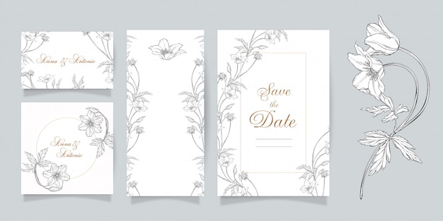 Set of wedding invitation card with floral print of anemone