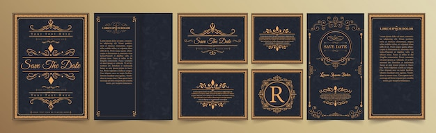 Set of wedding invitation card with flourishes ornaments