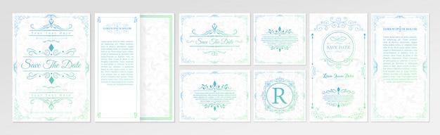 Set of wedding invitation card with flourishes ornaments