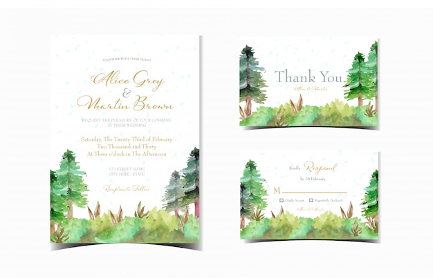 Set of wedding invitation card with garden of pine trees