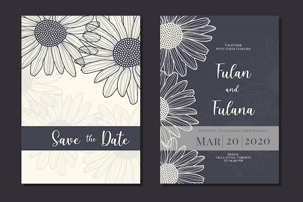 Set wedding invitation card with hand drawn doodle daisy flower outline monochrome template