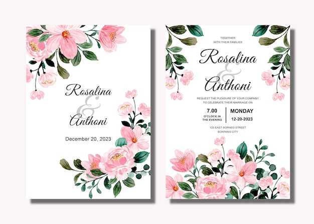 Set wedding invitation card with pink floral watercolor
