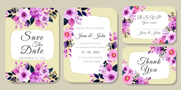 Set wedding invitation card with purple watercolor floral