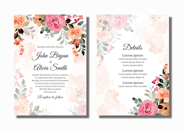 Set wedding invitation card with watercolor blooming flowers