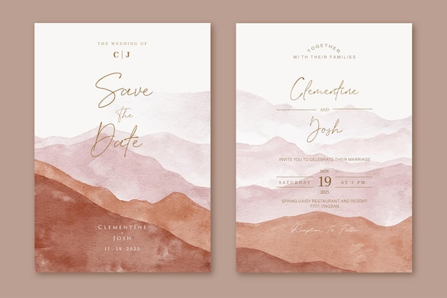 Set of wedding invitation card with watercolor modern mountain landscape abstract shape background