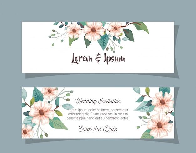花の装飾で結婚式の招待カードを設定します