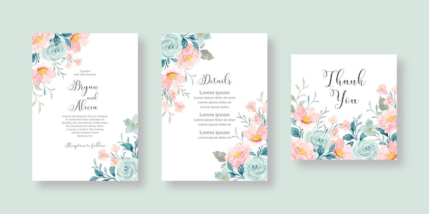 Set of wedding invitation cards with pink and blue watercolor flowers