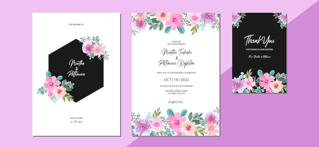 Set of wedding invitation floral watercolor background