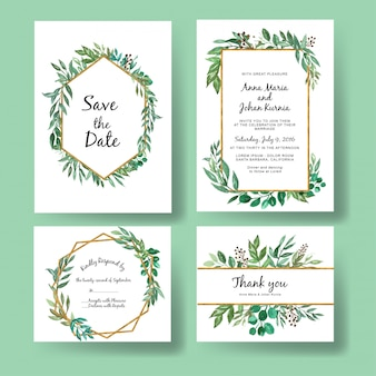 Set of wedding invitation greenery and gold leaf rustic