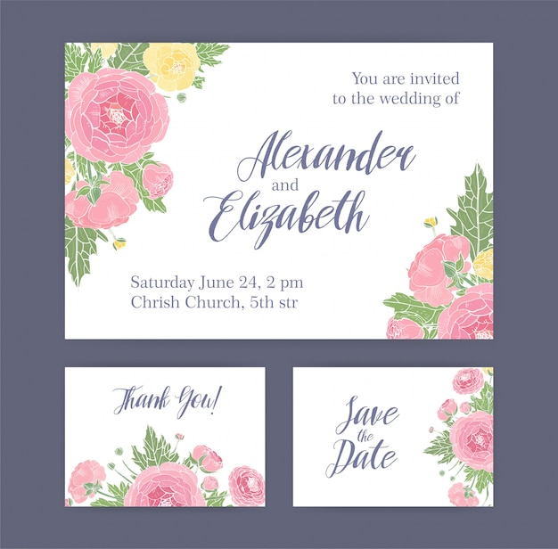 Set of wedding invitation, save the date card and thank you note templates decorated