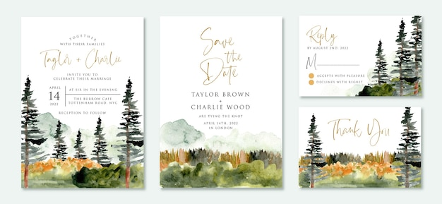 Set of wedding invitation suite with wild nature