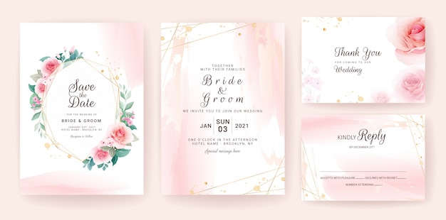 Set of wedding invitation template with abstract shapes and floral frame.