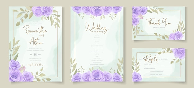 Set of wedding invitation template with beautiful purple blooming roses design
