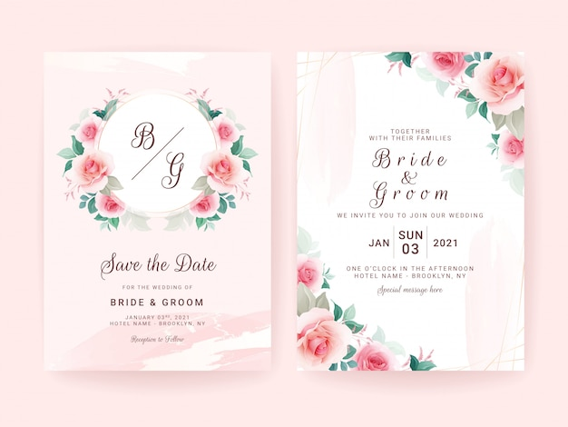 Set of wedding invitation template with floral frame badge & border, brush stroke, and gold line.