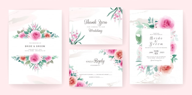 Set of wedding invitation template with floral frame, border, and gold brush stroke.
