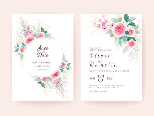Set of wedding invitation template with floral frame & border, and gold leaves.