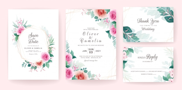 Set of wedding invitation template with floral frame, border, and gold line.