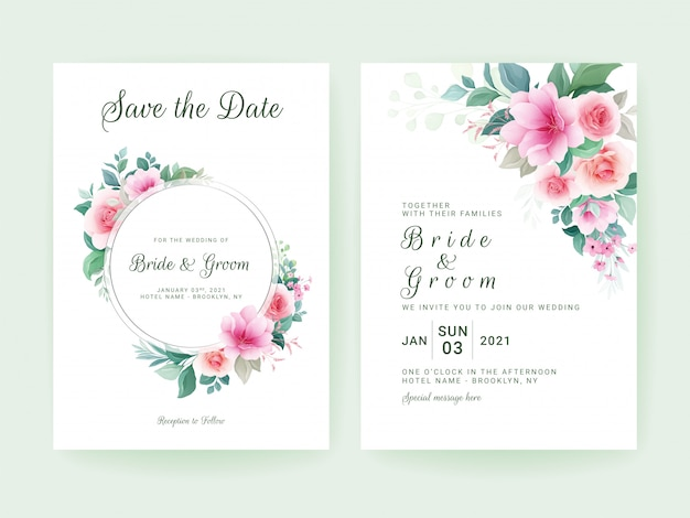 Set of wedding invitation template with floral frame and border.