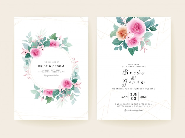 Set of wedding invitation template with floral frame, bouquet, and gold line border.