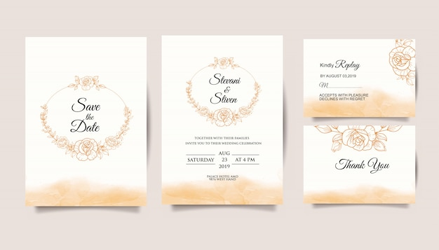 Set wedding invitation template with golden flower