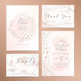 Set of wedding invitation template with outlined stylish floral