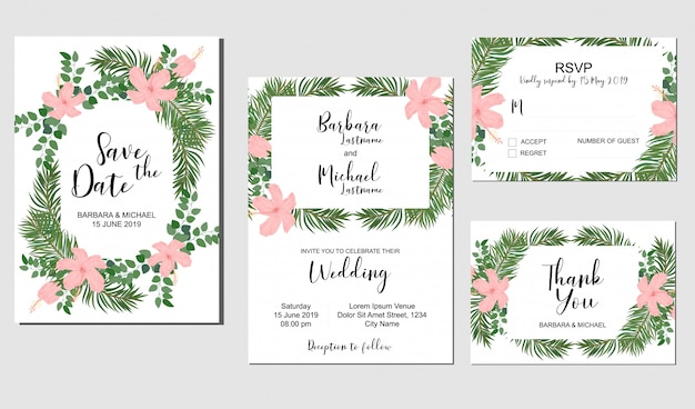 Set of wedding invitation template with tropical hibiscus bouquet