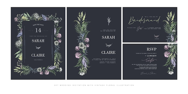 Set wedding invitation template with vintage flowers
