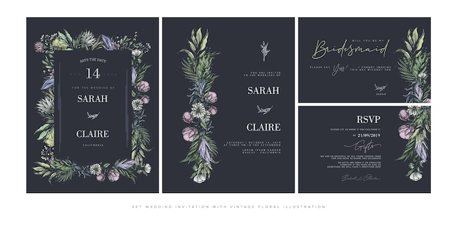 Set wedding invitation template with vintage flowers