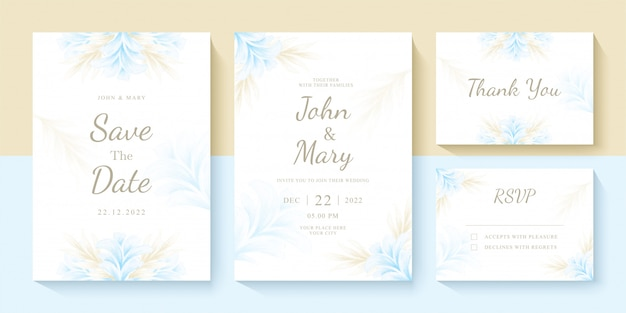 Set of wedding invitation template