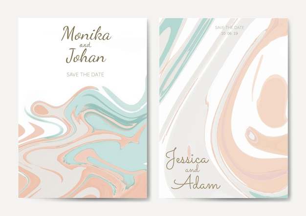 Set of wedding invitation vectors