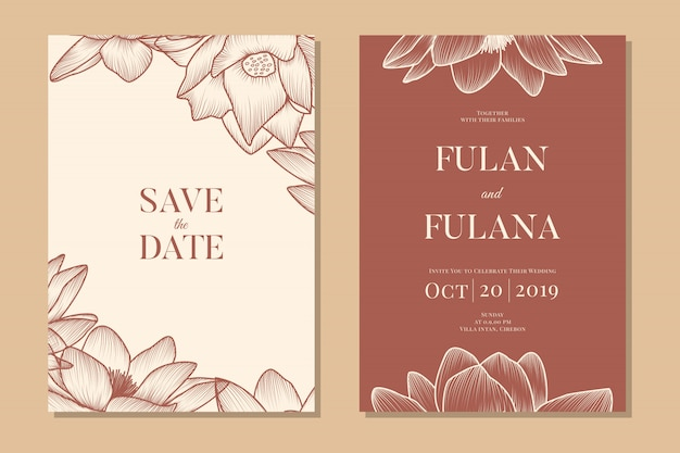 Set wedding invitation vip floral and flower romantic love template