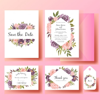 Set of wedding invitation watercolor flower rose pink and purple with green leaf